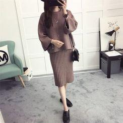 efolin - 套装: 纯色毛衣 + 针织中裙