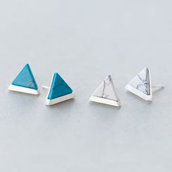 A'ROCH - 925 Sterling Silver Turquoise Triangle Stud Earrings