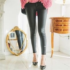 ERANZI - Wet-Look Skinny Pants
