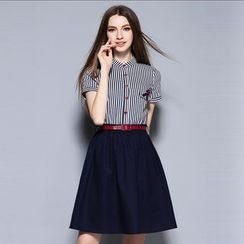 Cherry Dress - Pinstriped Short-Sleeve Dress