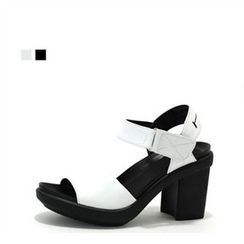 MODELSIS - Genuine Leather Chunky-Heel Sandals