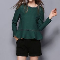 Merald - Set: Long-Sleeve Peplum Top + Shorts