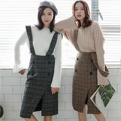 Hanme - Plaid Jumper Skirt