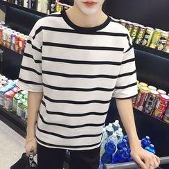 DragonRoad - Striped Elbow Sleeve T-Shirt