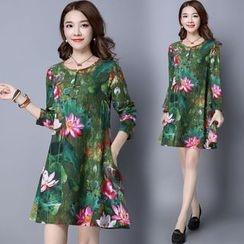 Diosa - Long-Sleeve Floral A-line Dress