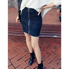 GUMZZI - Denim Zip Skirt