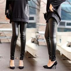 Jcstyle - Brushed-Fleece Wet-Look Leggings Pants