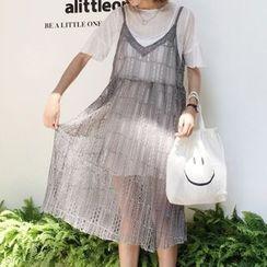 MATO - Set: Short Sleeve Sheer Tunic + Spaghetti Strap Midi Lace Dress