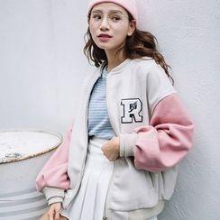 Hanme - Color-Block Baseball Jacket