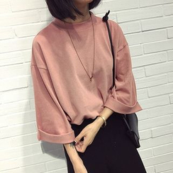 CosmoCorner - Plain Mock-Neck 3/4 Sleeve Top