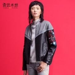 Cloudwood - Faux Leather Embroidered Jacket