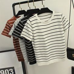 Honey House - Striped Short-Sleeve Knit Top