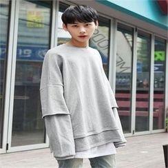 TOMONARI - Drop-Shoulder Layered-Hem Sweatshirt