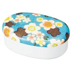 Hakoya - Hakoya Nunobari Oval One Layer Lunch Box Kaga Sakura (Blue)