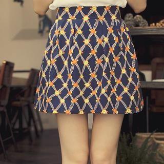 Tokyo Fashion - Patterned Chiffon Pleated Skirt