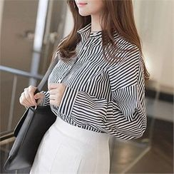 CHICLINE - Long-Sleeve Stripe Blouse