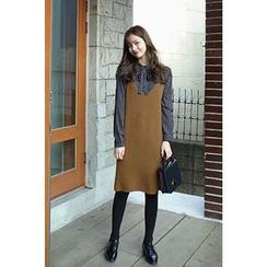 CHERRYKOKO - Spaghetti-Strap Wool Blend Shift Dress
