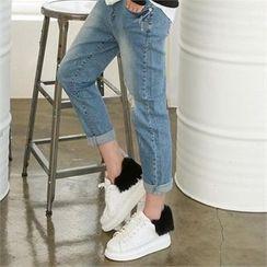 PINKSISLY - Faux-Fur Trim Sneakers