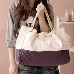 BOLIYASHI - Faux-Leather Color-Block Tote