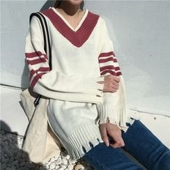 Bloombloom - Striped V-Neck Ripped Sweater