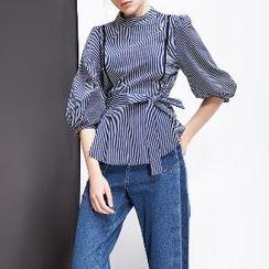 Halona - Striped Tie-Waist Blouse