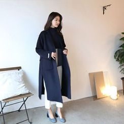 Hello sweety - Wool Blend Slit-Hem Long Coat