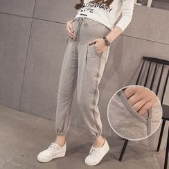 Dadada - Maternity Plain Drawstring Pants