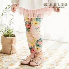 LILIPURRI - Girls Inset Tulle Skirt Rosette Leggings