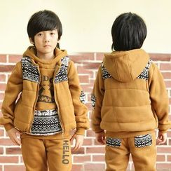 Lullaby - Kids Set: Printed Hoodie + Sweatpants + Patterned Panel Padded Vest