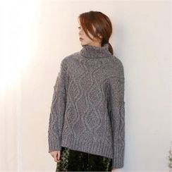 MAGJAY - Turtle-Neck Cable Knit Sweater