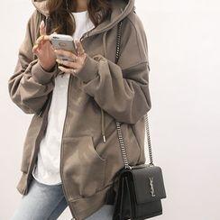 NANING9 - Kangaroo-Pocket Zip Hoodie