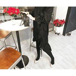 MARSHMALLOW - Dip-Back Ruffled-Hem Dress