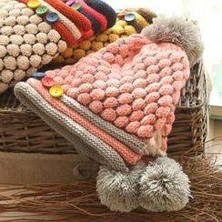 RGLT Scarves - Pompom Contrast-Color Buttoned Knit Beanie