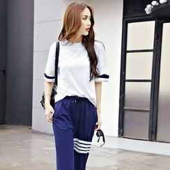 Athena - Set: Short-Sleeve Distressed Top + Drawstring Contrast-Stripe Pants
