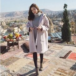 7th Mansion - Plain Hooded Long Woolen Coat