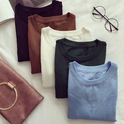 OYANA - 純色中袖針織上衣