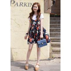 DEEPNY - Flower Patterned Mini Jumper Dress