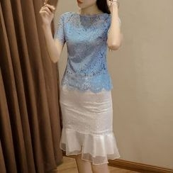 Fashion Street - Set: Short-Sleeve Lace Top + Ruffle Fitted Skirt