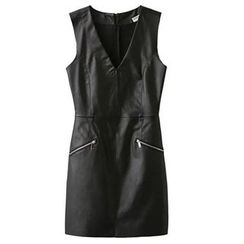 Ainvyi - Sleeveless V-Neck A-Line Faux Leather Dress