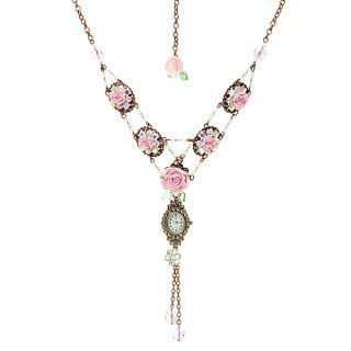 Unique romantic pink rose necklace watch