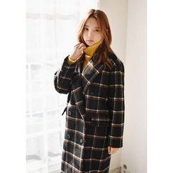 GOROKE - Peaked-Lapel Wool Blend Plaid Long Coat