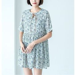 Sens Collection - Floral Print Lace Up Front Short Sleeve Smock Dress