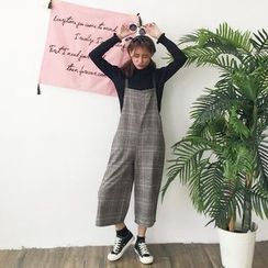 Anlay - Loose-Fit Check Cropped Wide-Leg Jumper Pants