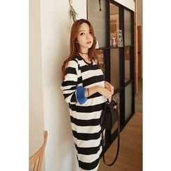 Momnuri - Maternity Stripe Nursing T-Shirt Dress