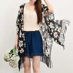 Yammi - Fringed Floral Print Light Jacket