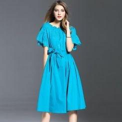 Elabo - Short-Sleeve A-Line Midi Dress
