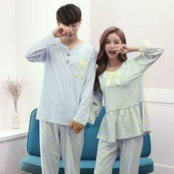 SHIRLEY - Couple Matching Pajama Set: Dotted Panel Long Sleeve Top/Dotted Long Sleeve Top + Pants