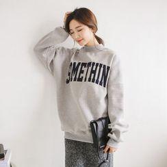 JUSTONE - Mock-Neck Lettering Brushed-Fleece Lined Pullover
