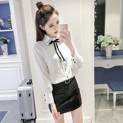 CHIH - 配色边领结带雪纺衬衫