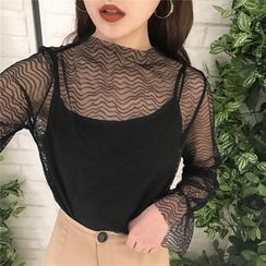 Tiny Times - Set: Long-Sleeve See Through Top + Camisole Top